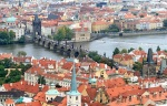 The aerial view of Prague